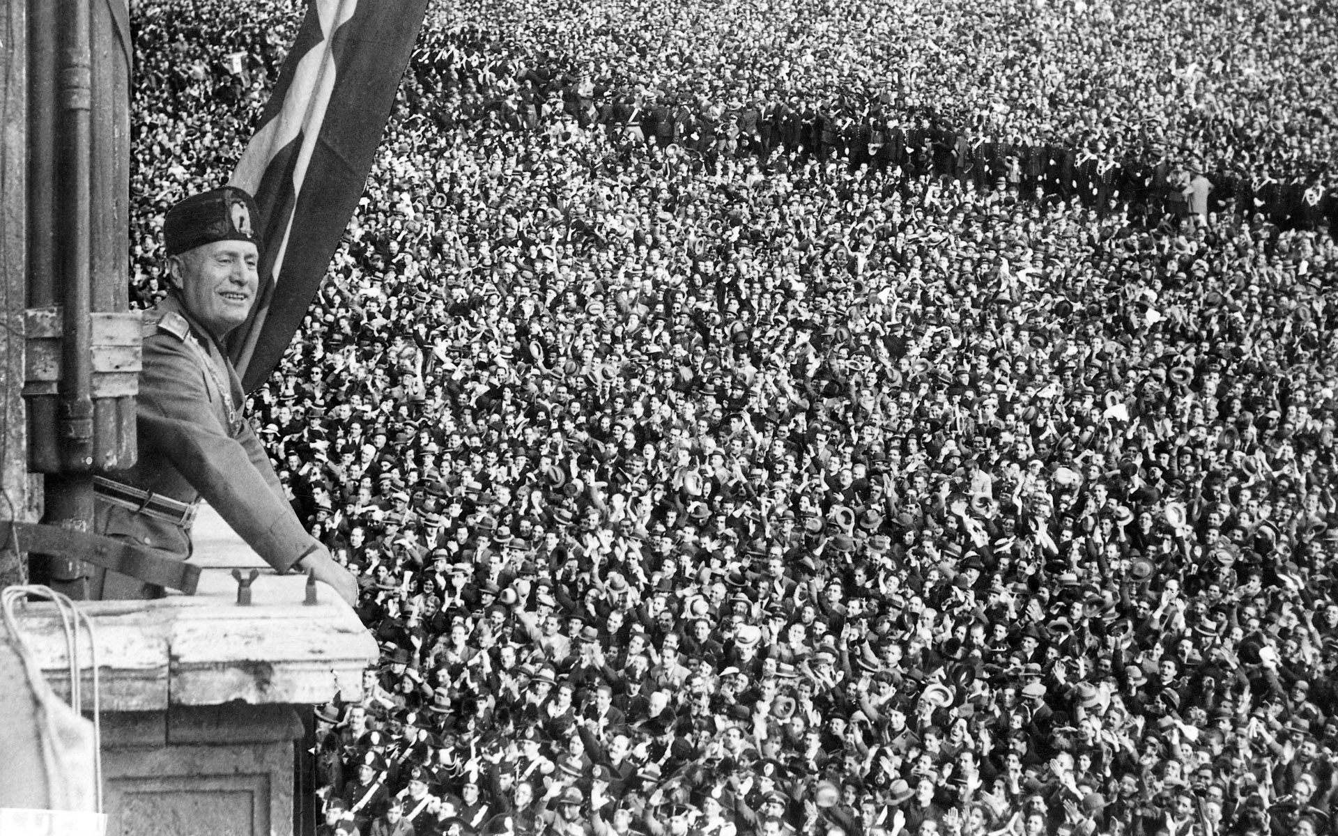 Benito Mussolini, 1934 meeting crowds of supporters, at the height of the fascist government